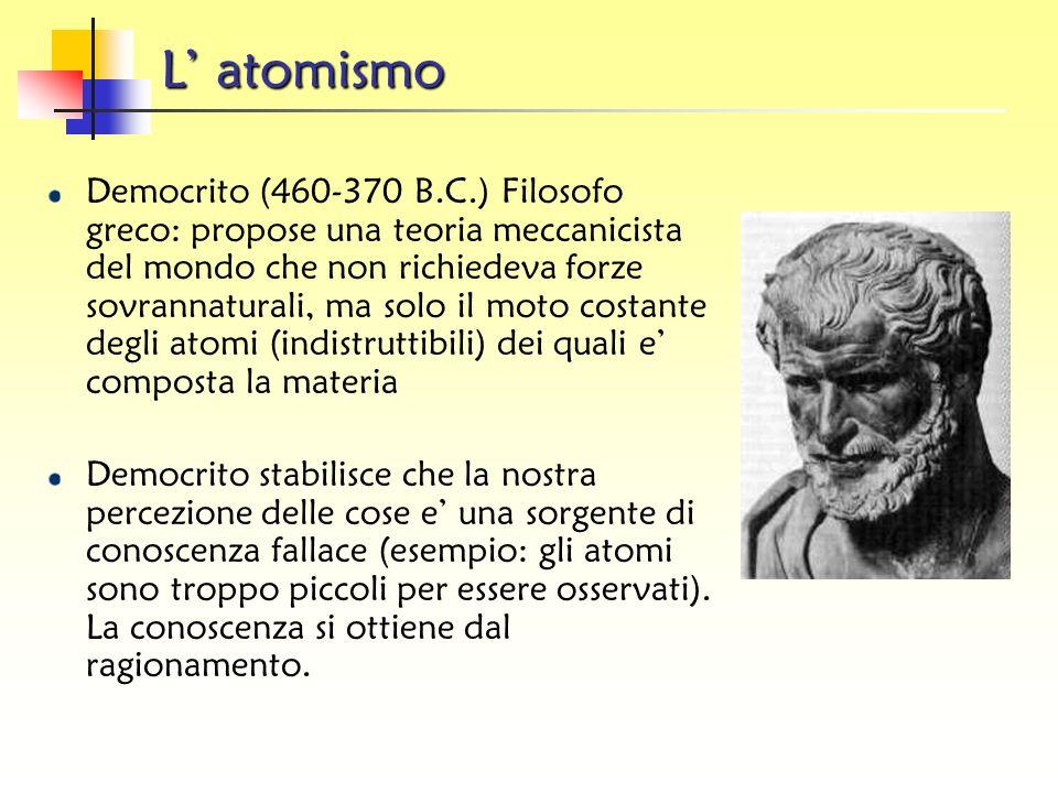 Le origini Nell'antichità l'uomo pensava che ogni cosa nel mondo fosse un composto dei quattro elementi:
