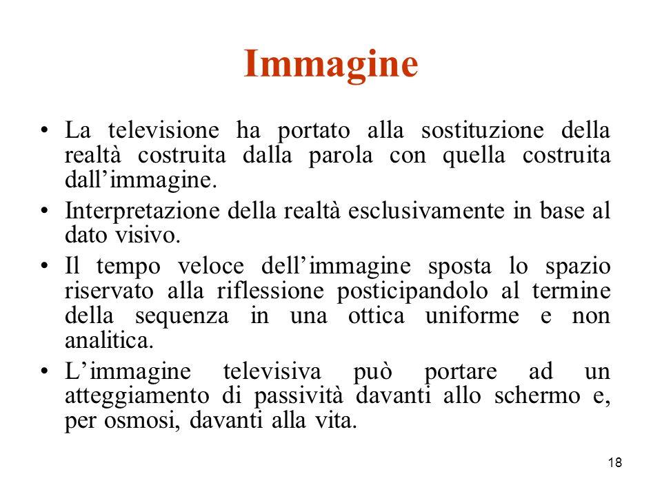 18 Immagine La televisione ha portato alla sostituzione della realtà costruita dalla parola con quella costruita dallimmagine.