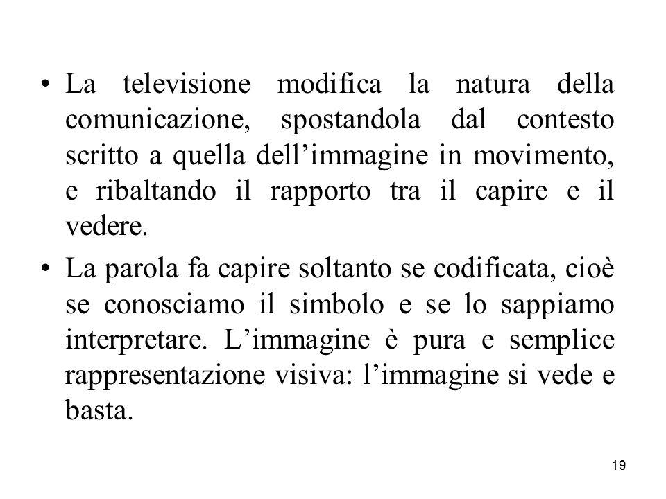 19 La televisione modifica la natura della comunicazione, spostandola dal contesto scritto a quella dellimmagine in movimento, e ribaltando il rapporto tra il capire e il vedere.