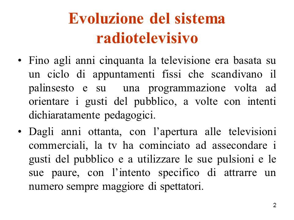 2 Evoluzione del sistema radiotelevisivo Fino agli anni cinquanta la televisione era basata su un ciclo di appuntamenti fissi che scandivano il palinsesto e su una programmazione volta ad orientare i gusti del pubblico, a volte con intenti dichiaratamente pedagogici.
