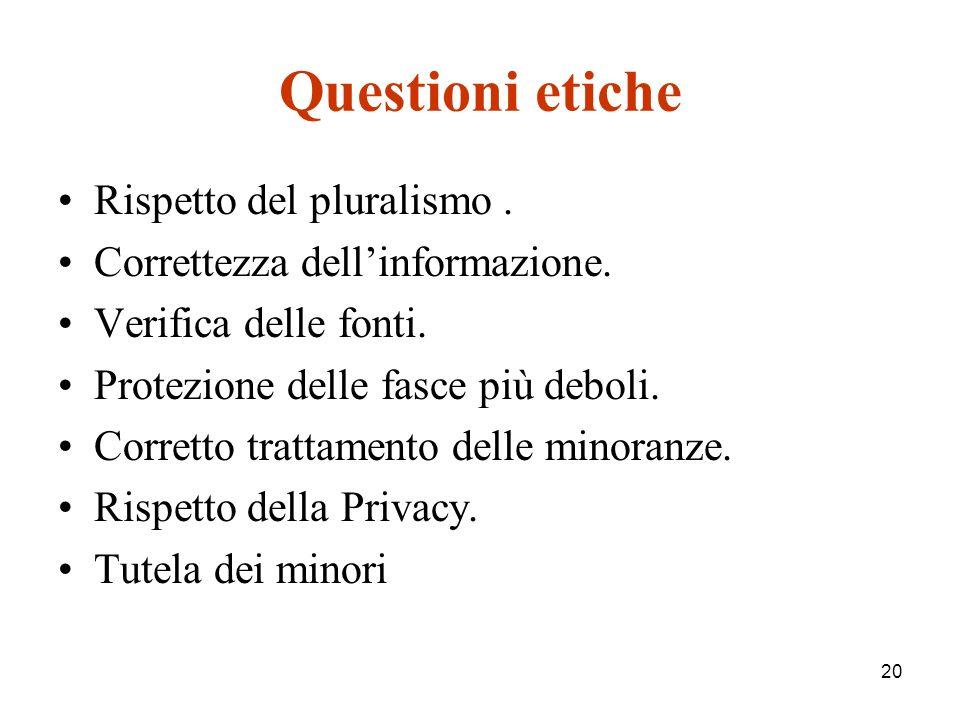 20 Questioni etiche Rispetto del pluralismo. Correttezza dellinformazione.