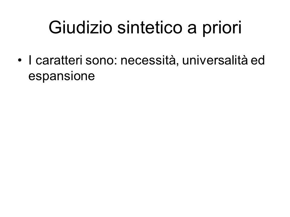Giudizio sintetico a priori I caratteri sono: necessità, universalità ed espansione