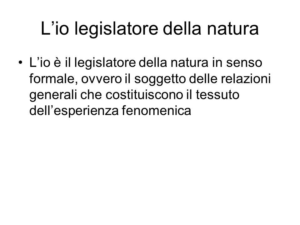 Lio legislatore della natura Lio è il legislatore della natura in senso formale, ovvero il soggetto delle relazioni generali che costituiscono il tess