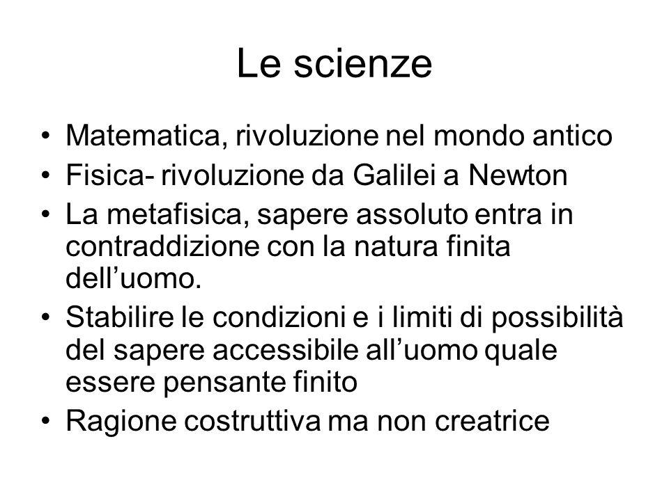 Le scienze Matematica, rivoluzione nel mondo antico Fisica- rivoluzione da Galilei a Newton La metafisica, sapere assoluto entra in contraddizione con