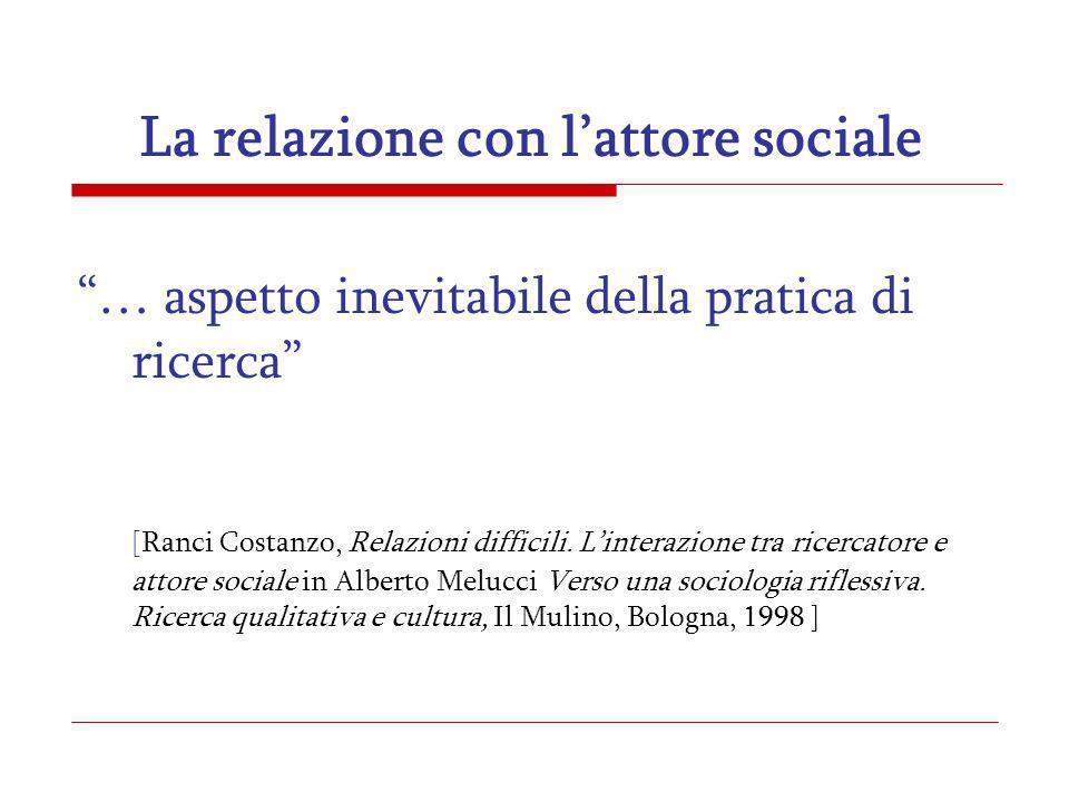La relazione con lattore sociale … aspetto inevitabile della pratica di ricerca [Ranci Costanzo, Relazioni difficili. Linterazione tra ricercatore e a