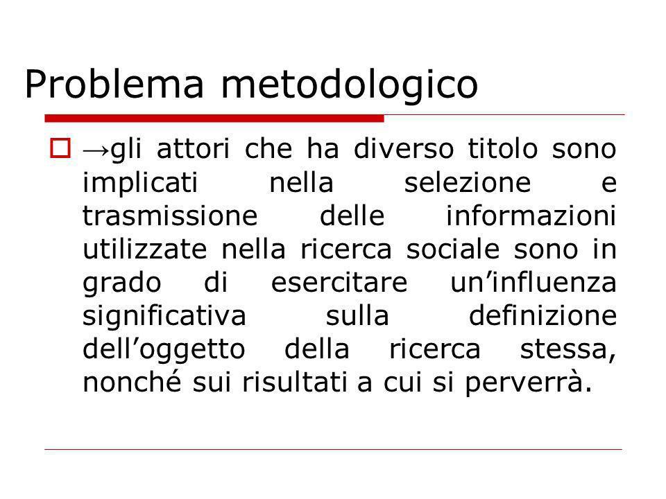 Problema metodologico gli attori che ha diverso titolo sono implicati nella selezione e trasmissione delle informazioni utilizzate nella ricerca sociale sono in grado di esercitare uninfluenza significativa sulla definizione delloggetto della ricerca stessa, nonché sui risultati a cui si perverrà.