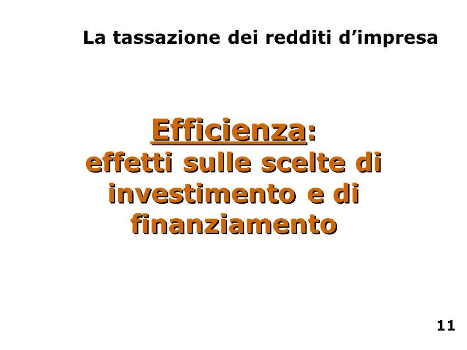 Efficienza : effetti sulle scelte di investimento e di finanziamento La tassazione dei redditi dimpresa 11