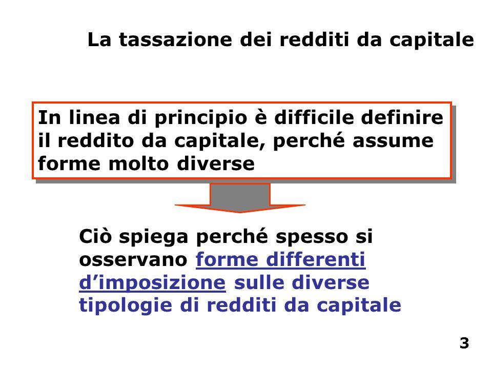 La tassazione dei redditi da capitale In linea di principio è difficile definire il reddito da capitale, perché assume forme molto diverse Ciò spiega