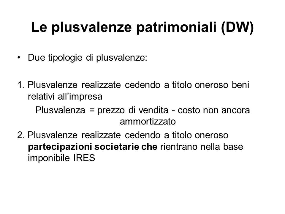 Le plusvalenze patrimoniali (DW) Due tipologie di plusvalenze: 1. Plusvalenze realizzate cedendo a titolo oneroso beni relativi allimpresa Plusvalenza