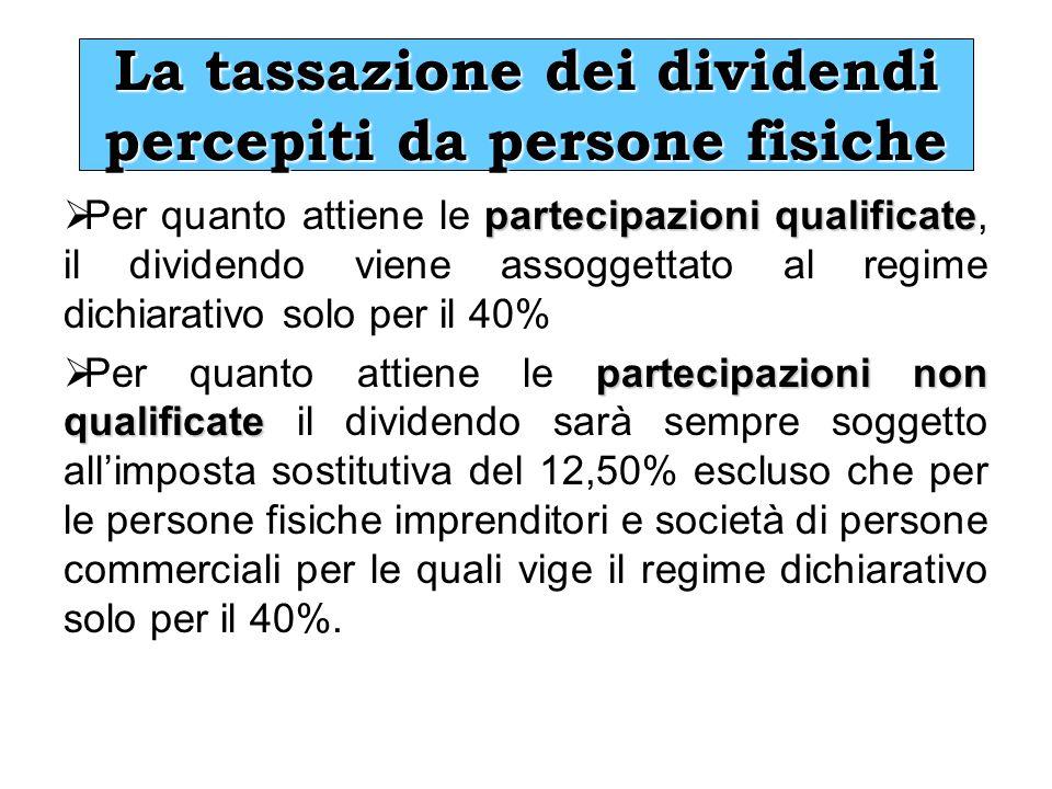 La tassazione dei dividendi percepiti da persone fisiche partecipazioni qualificate Per quanto attiene le partecipazioni qualificate, il dividendo vie