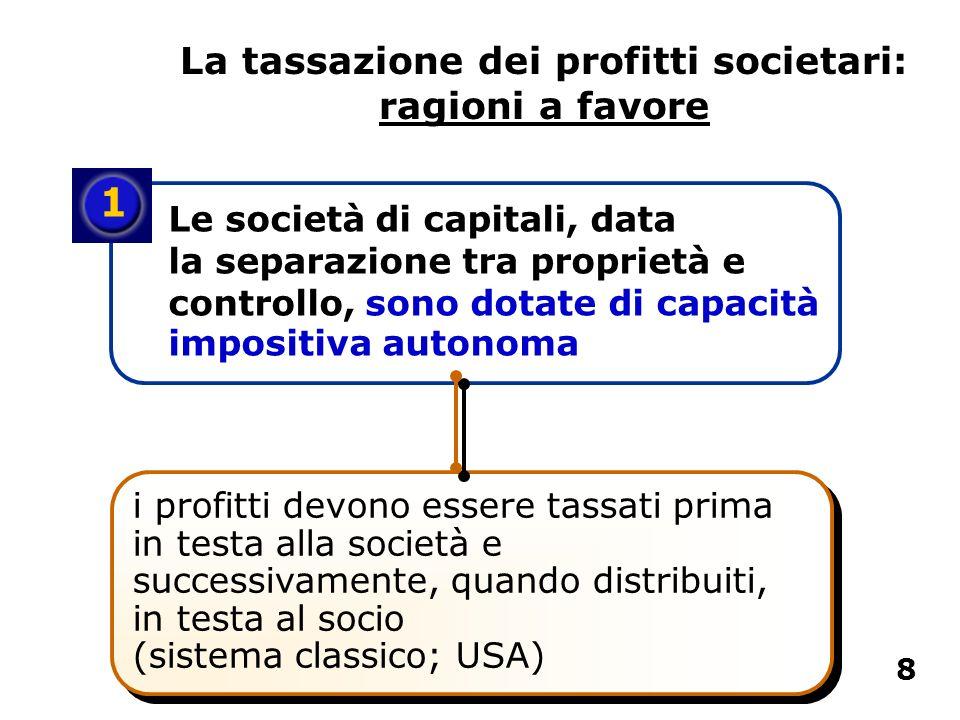 La tassazione dei profitti societari: ragioni a favore 1 Le società di capitali, data la separazione tra proprietà e controllo, sono dotate di capacit
