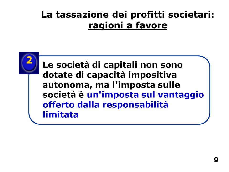 2 Le società di capitali non sono dotate di capacità impositiva autonoma, ma l'imposta sulle società è un'imposta sul vantaggio offerto dalla responsa