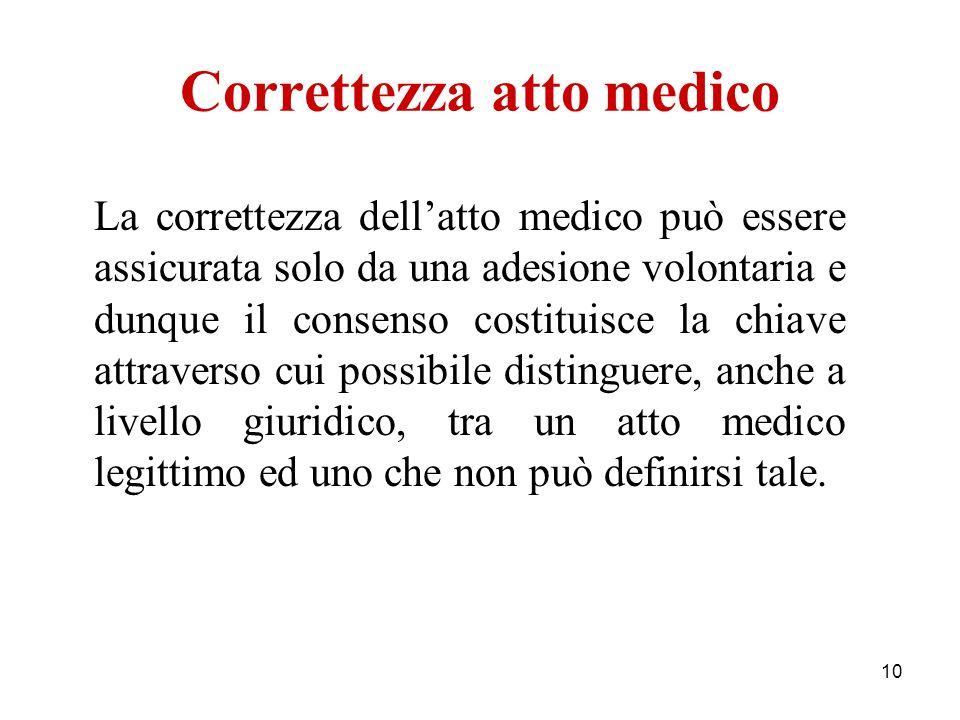 10 Correttezza atto medico La correttezza dellatto medico può essere assicurata solo da una adesione volontaria e dunque il consenso costituisce la ch