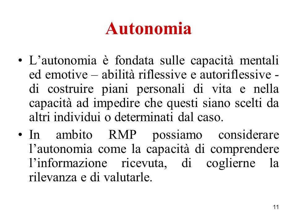 11 Autonomia Lautonomia è fondata sulle capacità mentali ed emotive – abilità riflessive e autoriflessive - di costruire piani personali di vita e nel