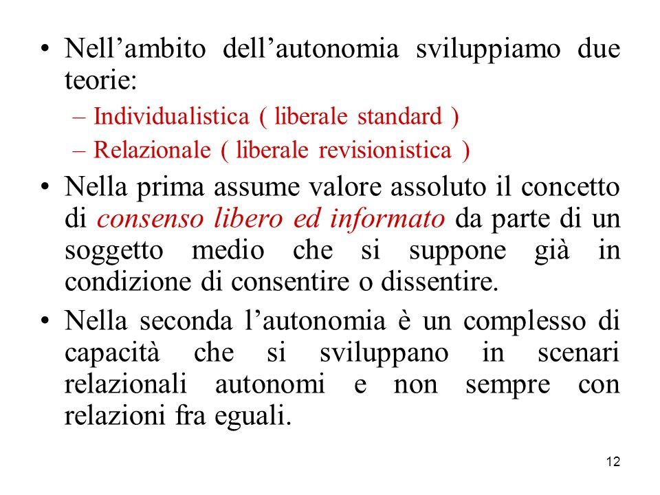 12 Nellambito dellautonomia sviluppiamo due teorie: –Individualistica ( liberale standard ) –Relazionale ( liberale revisionistica ) Nella prima assum