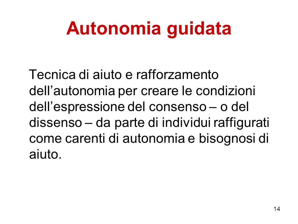 14 Autonomia guidata Tecnica di aiuto e rafforzamento dellautonomia per creare le condizioni dellespressione del consenso – o del dissenso – da parte
