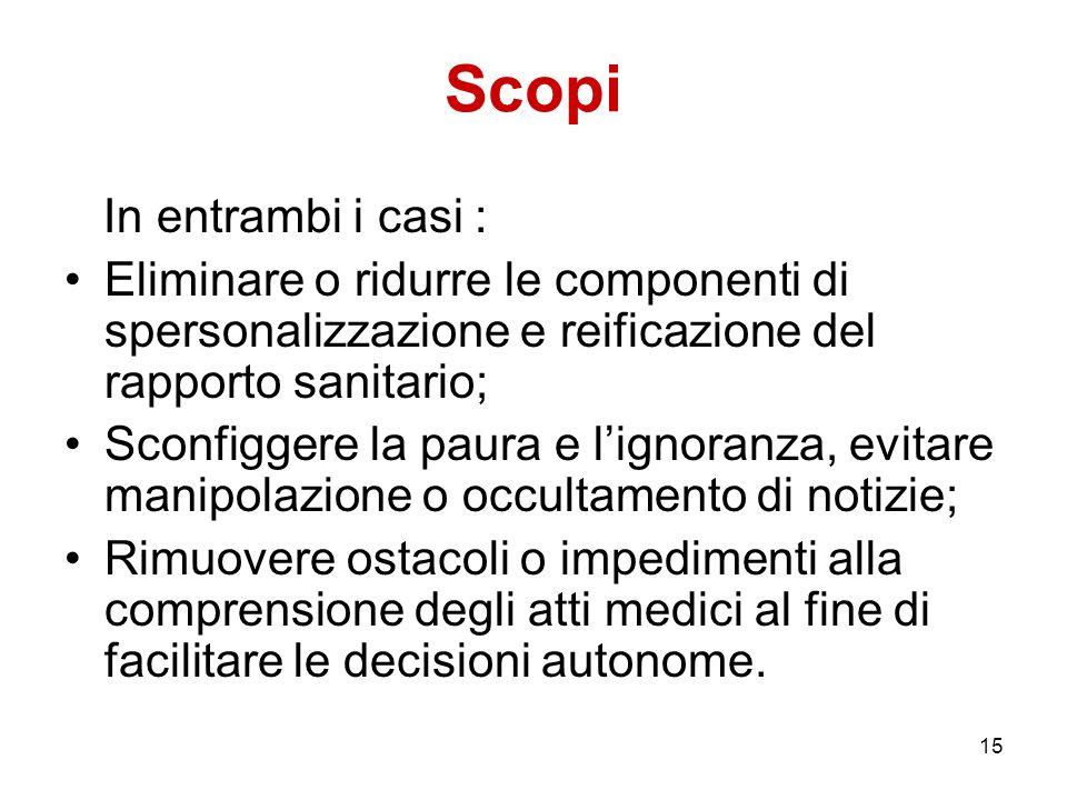 15 Scopi In entrambi i casi : Eliminare o ridurre le componenti di spersonalizzazione e reificazione del rapporto sanitario; Sconfiggere la paura e li