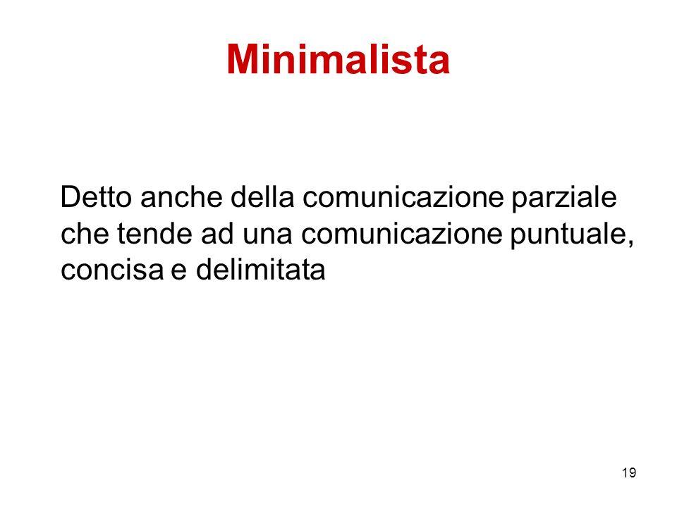 19 Minimalista Detto anche della comunicazione parziale che tende ad una comunicazione puntuale, concisa e delimitata