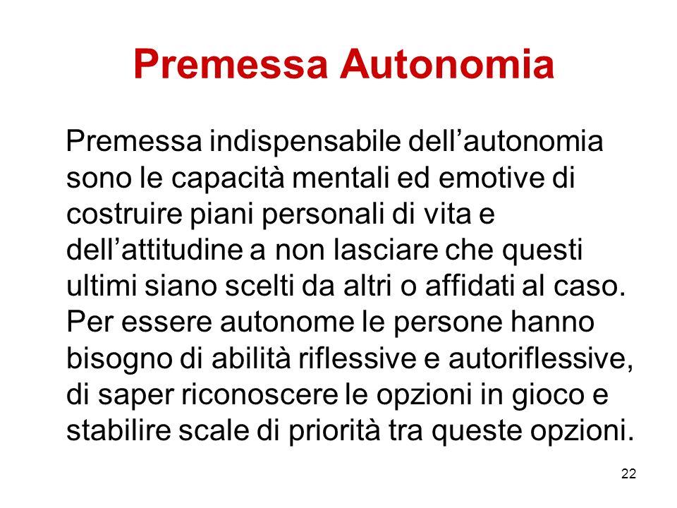 22 Premessa Autonomia Premessa indispensabile dellautonomia sono le capacità mentali ed emotive di costruire piani personali di vita e dellattitudine