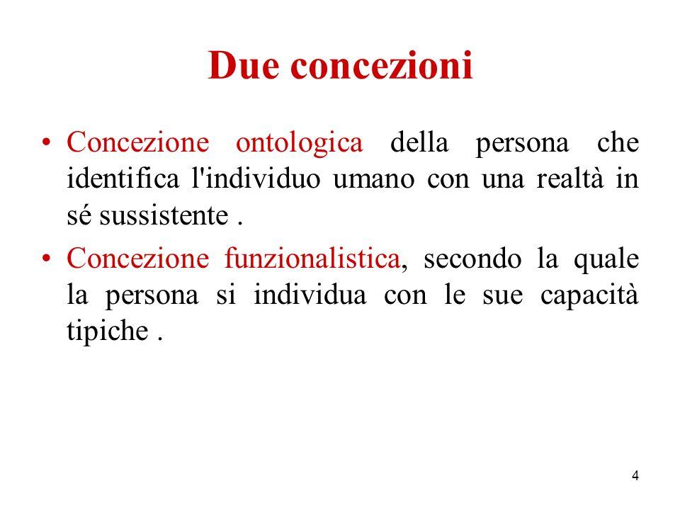4 Due concezioni Concezione ontologica della persona che identifica l'individuo umano con una realtà in sé sussistente. Concezione funzionalistica, se