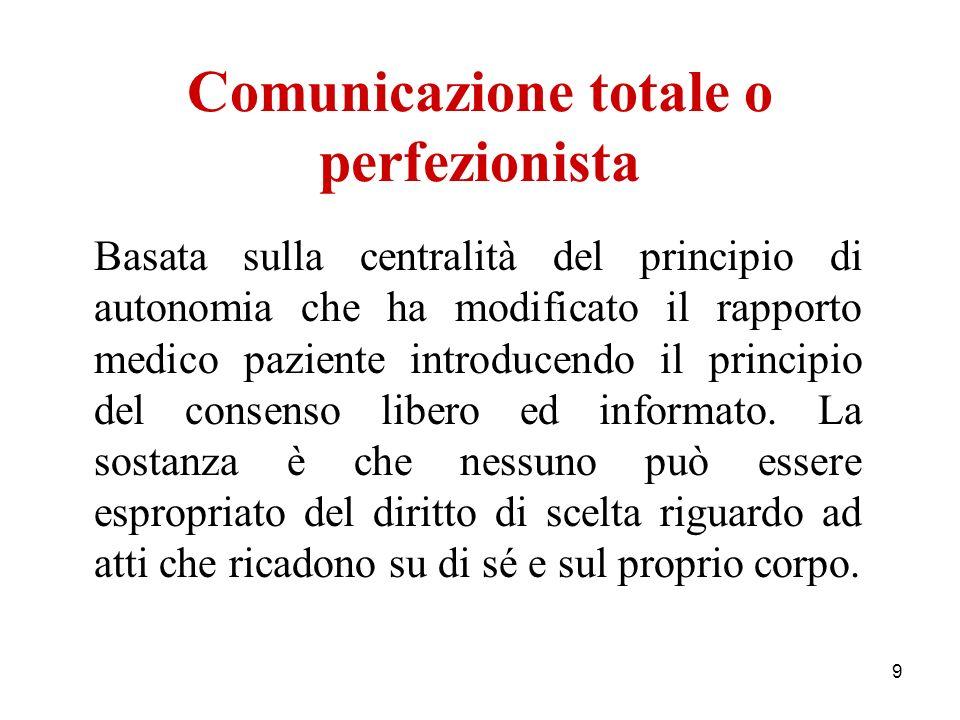 9 Comunicazione totale o perfezionista Basata sulla centralità del principio di autonomia che ha modificato il rapporto medico paziente introducendo i