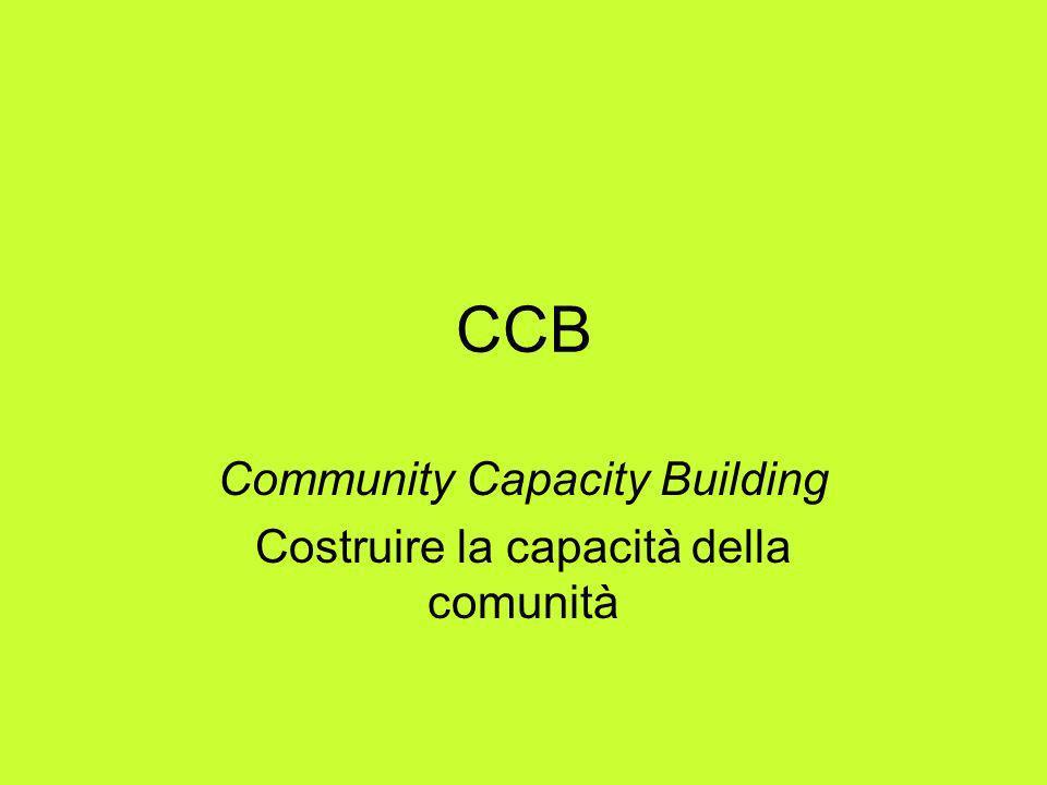 CCB: definizione – 1- La capacità della comunità è linterazione di capitale umano, risorse organizzative e capitale sociale esistenti in una data comunità sui quali si può far leva per risolvere problemi collettivi e promuovere o mantenere il benessere di quella comunità.