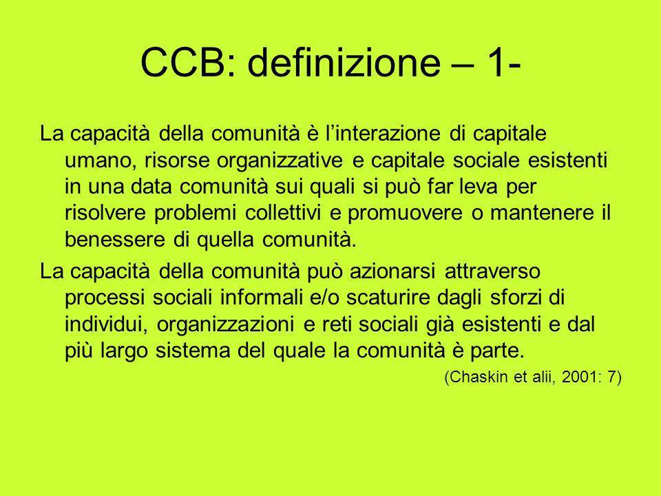 CCB: definizione – 1- La capacità della comunità è linterazione di capitale umano, risorse organizzative e capitale sociale esistenti in una data comu