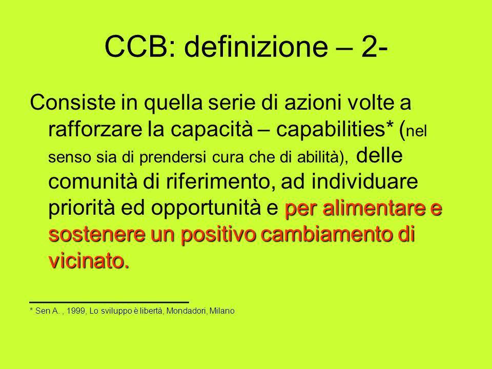 CCB: definizione – 2- per alimentare e sostenere un positivo cambiamento di vicinato. Consiste in quella serie di azioni volte a rafforzare la capacit