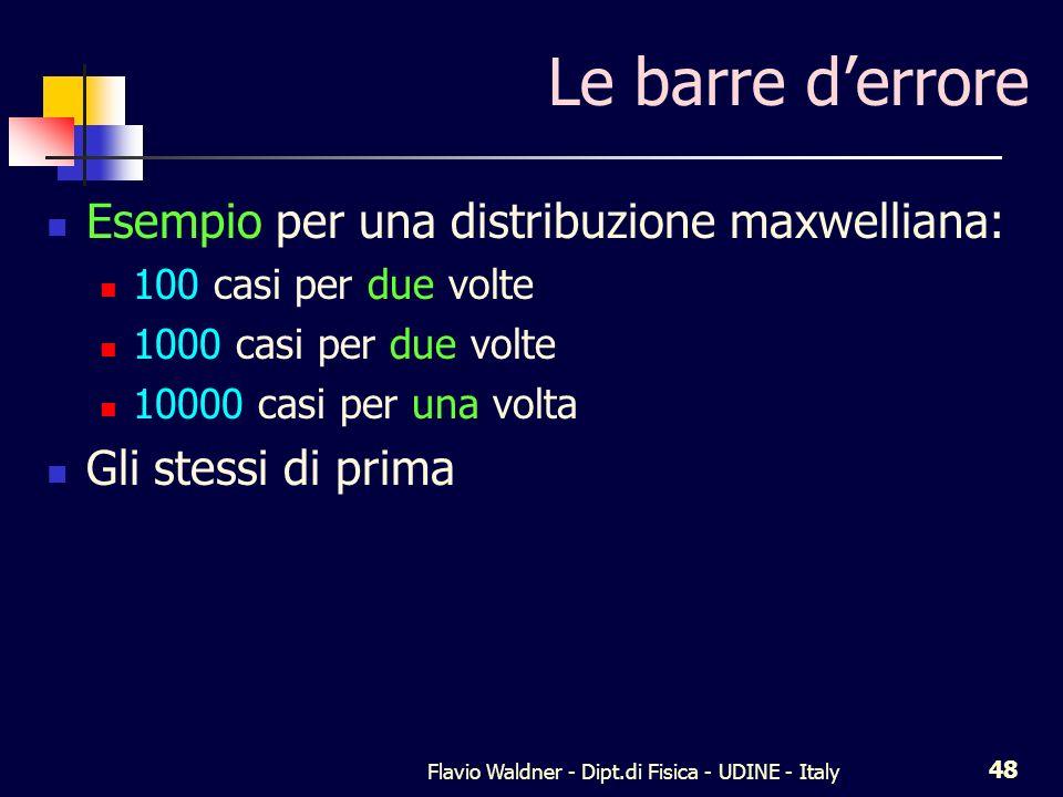 Flavio Waldner - Dipt.di Fisica - UDINE - Italy 48 Le barre derrore Esempio per una distribuzione maxwelliana: 100 casi per due volte 1000 casi per due volte 10000 casi per una volta Gli stessi di prima