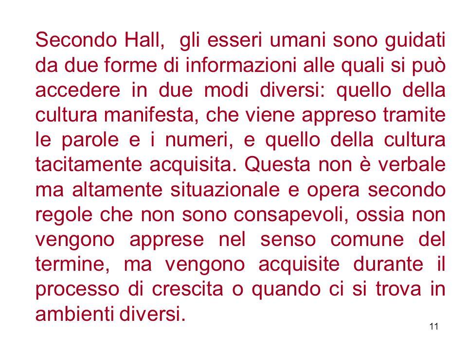 Secondo Hall, gli esseri umani sono guidati da due forme di informazioni alle quali si può accedere in due modi diversi: quello della cultura manifest
