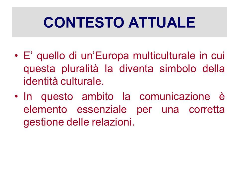 CONTESTO ATTUALE E quello di unEuropa multiculturale in cui questa pluralità la diventa simbolo della identità culturale. In questo ambito la comunica