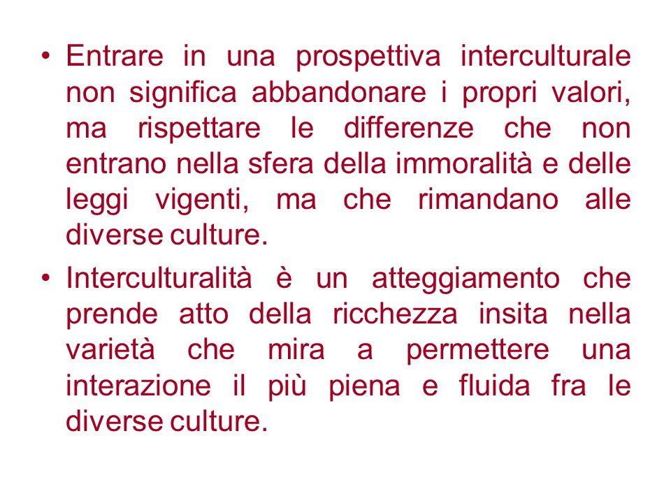 Entrare in una prospettiva interculturale non significa abbandonare i propri valori, ma rispettare le differenze che non entrano nella sfera della imm