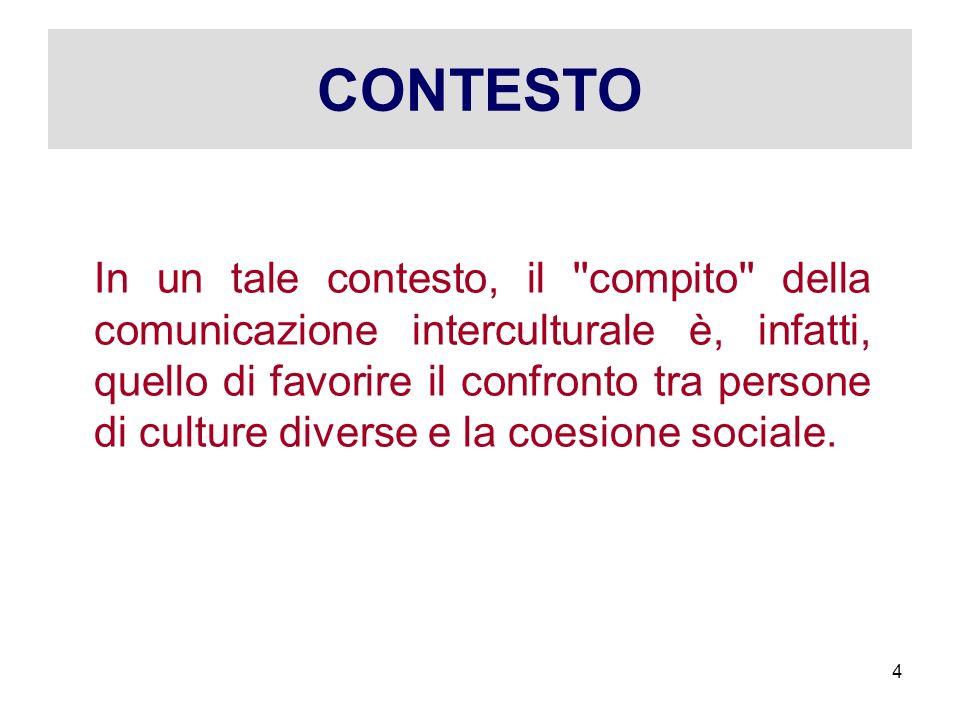 CONTESTO In un tale contesto, il ''compito'' della comunicazione interculturale è, infatti, quello di favorire il confronto tra persone di culture div