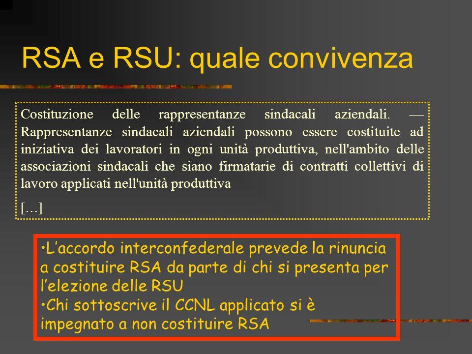 RSA e RSU: quale convivenza Costituzione delle rappresentanze sindacali aziendali. Rappresentanze sindacali aziendali possono essere costituite ad ini