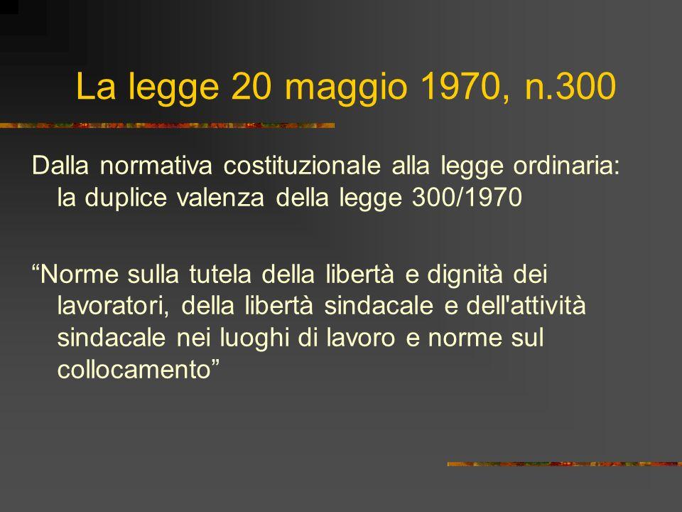 La legge 20 maggio 1970, n.300 Dalla normativa costituzionale alla legge ordinaria: la duplice valenza della legge 300/1970 Norme sulla tutela della l