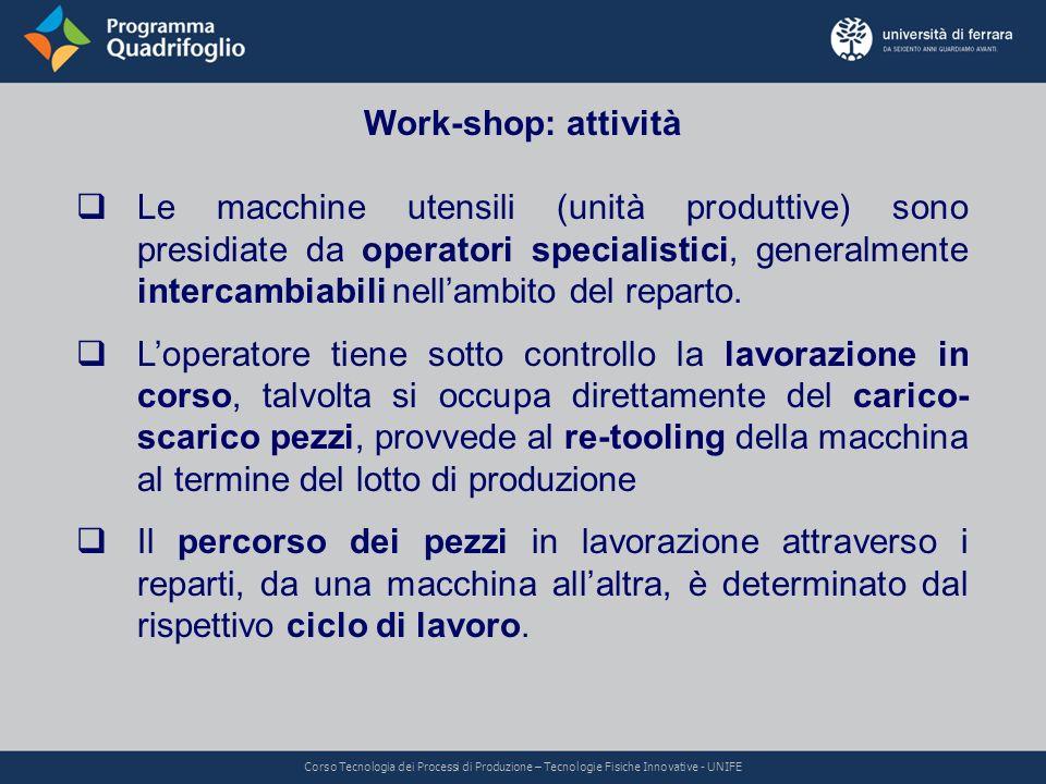 Work-shop: attività Le macchine utensili (unità produttive) sono presidiate da operatori specialistici, generalmente intercambiabili nellambito del re
