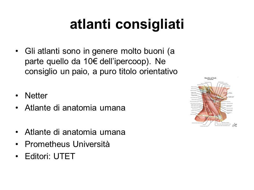 atlanti consigliati Gli atlanti sono in genere molto buoni (a parte quello da 10 dellipercoop). Ne consiglio un paio, a puro titolo orientativo Netter