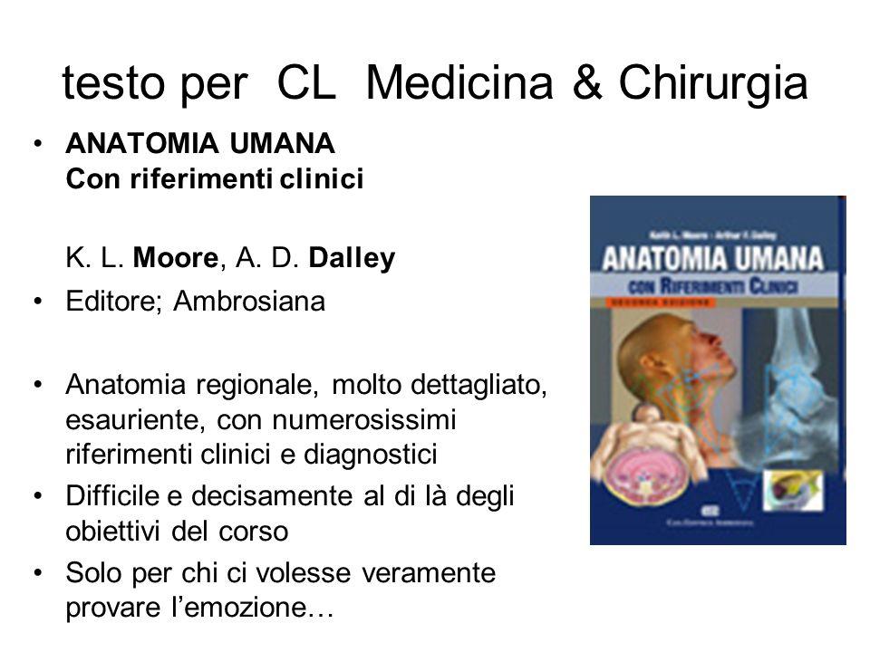 testo per CL Medicina & Chirurgia ANATOMIA UMANA Con riferimenti clinici K. L. Moore, A. D. Dalley Editore; Ambrosiana Anatomia regionale, molto detta