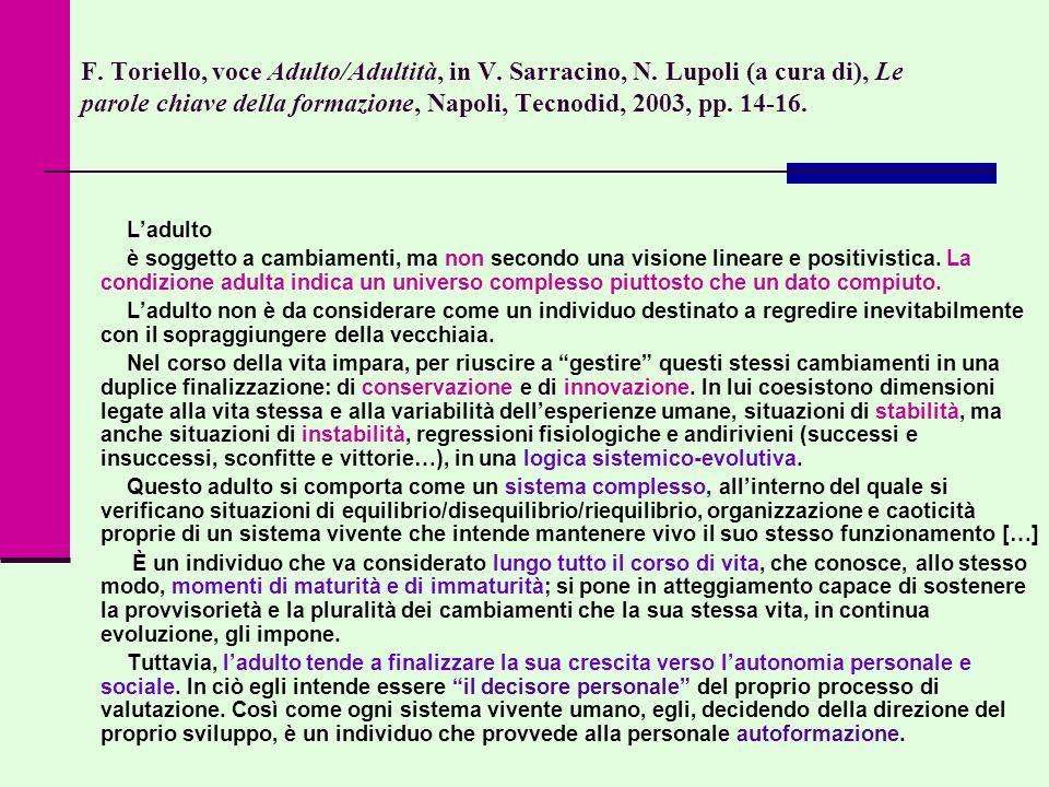 F. Toriello, voce Adulto/Adultità, in V. Sarracino, N. Lupoli (a cura di), Le parole chiave della formazione, Napoli, Tecnodid, 2003, pp. 14-16. Ladul