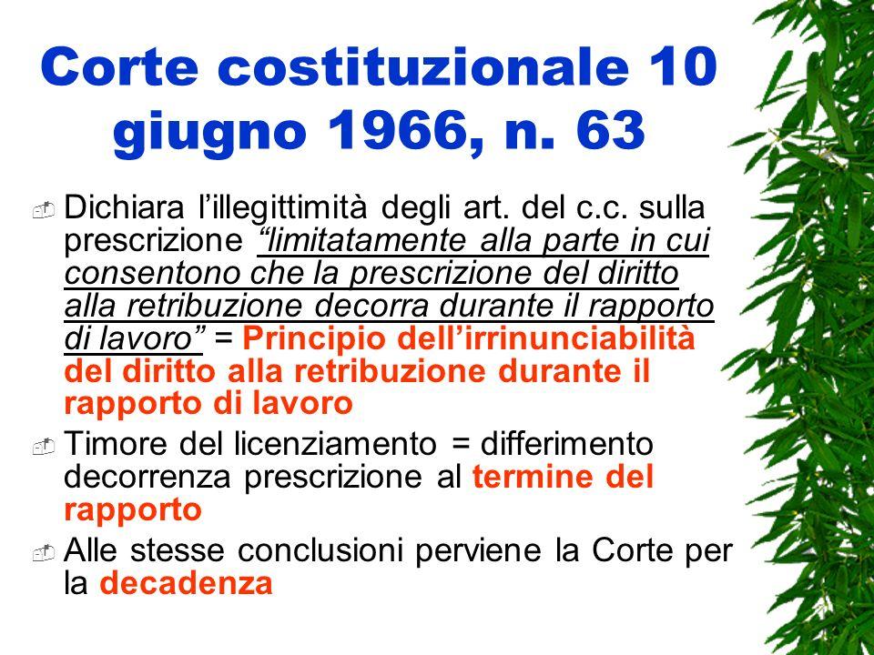 Corte costituzionale 10 giugno 1966, n. 63 Dichiara lillegittimità degli art. del c.c. sulla prescrizione limitatamente alla parte in cui consentono c