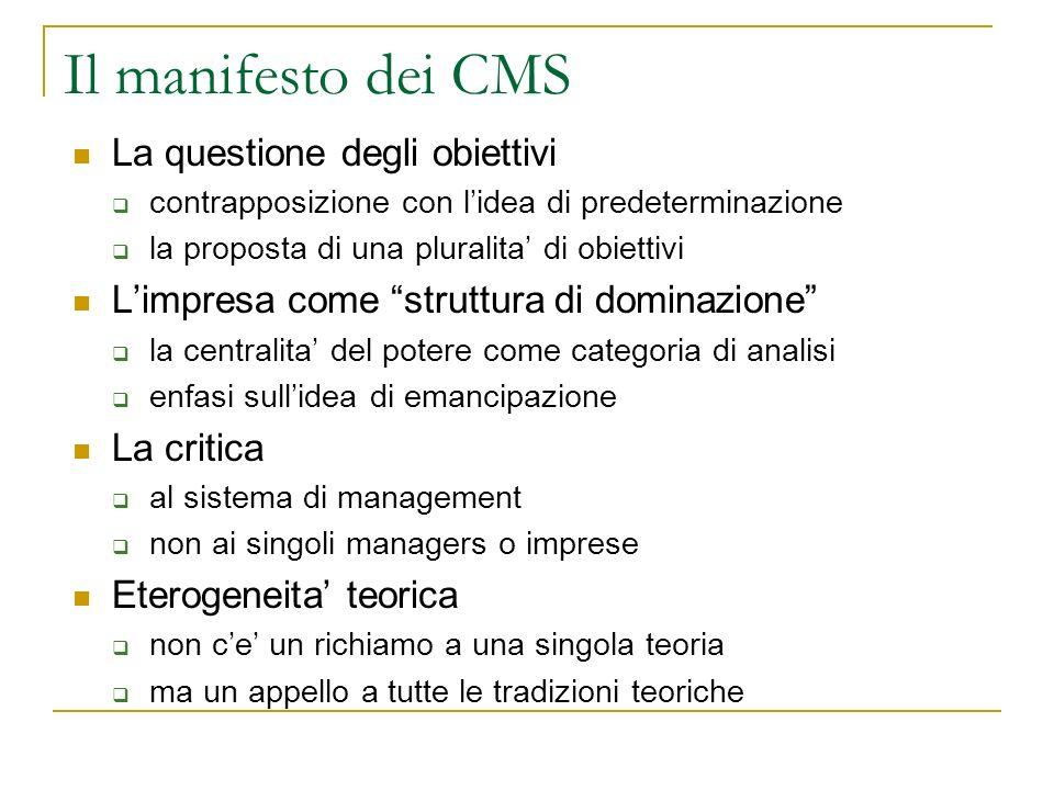 Il manifesto dei CMS La questione degli obiettivi contrapposizione con lidea di predeterminazione la proposta di una pluralita di obiettivi Limpresa c
