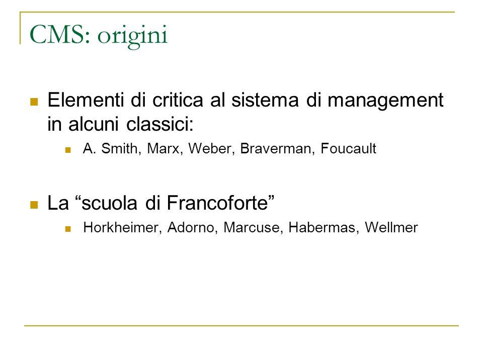 CMS: origini Elementi di critica al sistema di management in alcuni classici: A. Smith, Marx, Weber, Braverman, Foucault La scuola di Francoforte Hork