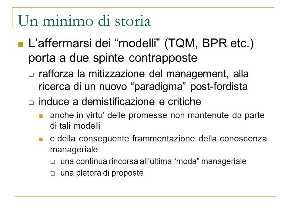 Un minimo di storia Laffermarsi dei modelli (TQM, BPR etc.) porta a due spinte contrapposte rafforza la mitizzazione del management, alla ricerca di u