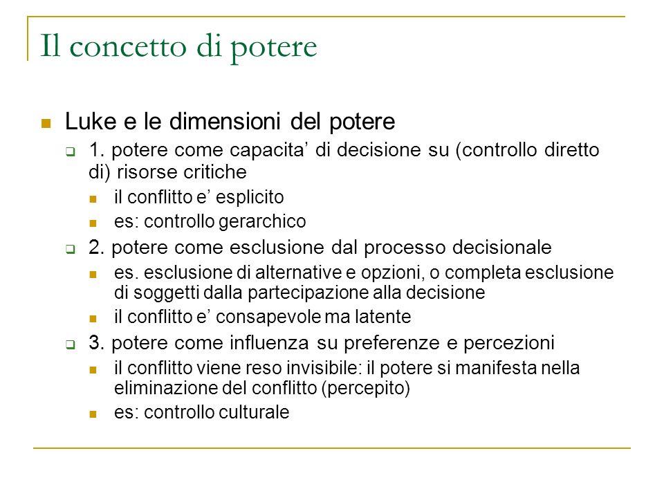 Il concetto di potere Luke e le dimensioni del potere 1. potere come capacita di decisione su (controllo diretto di) risorse critiche il conflitto e e