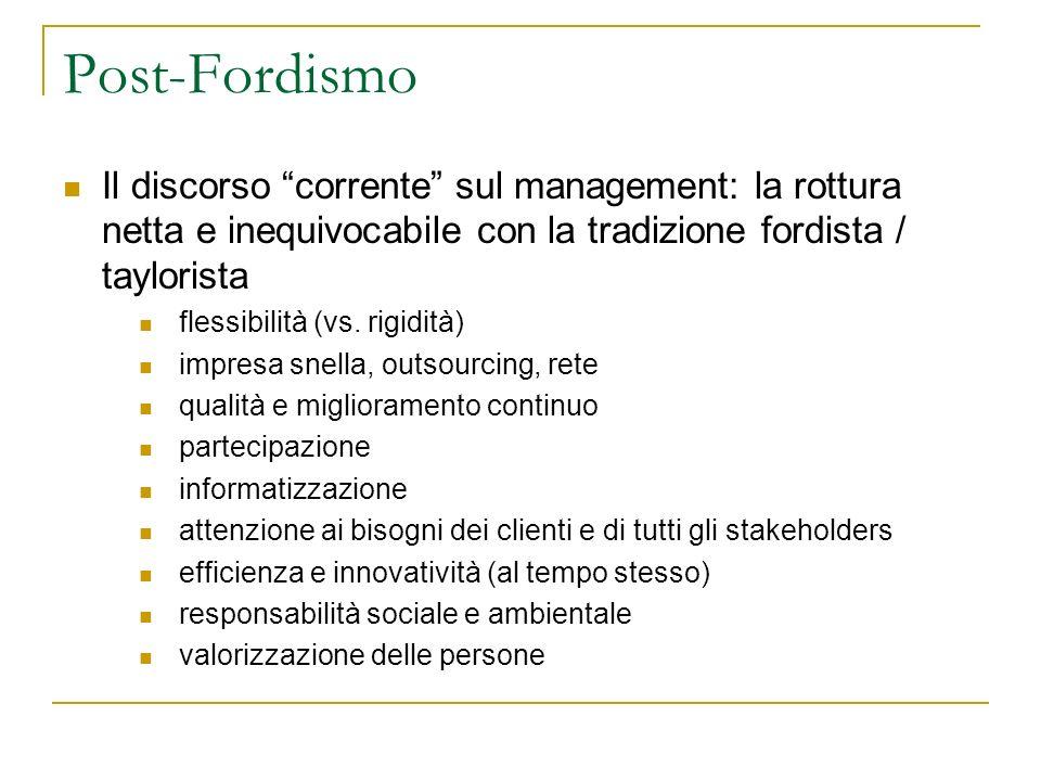 Post-Fordismo Il discorso corrente sul management: la rottura netta e inequivocabile con la tradizione fordista / taylorista flessibilità (vs. rigidit