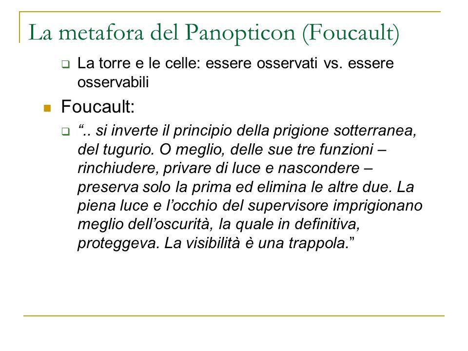 La metafora del Panopticon (Foucault) La torre e le celle: essere osservati vs. essere osservabili Foucault:.. si inverte il principio della prigione