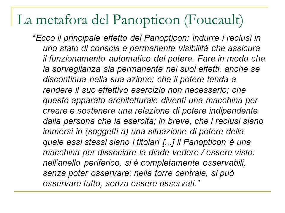 La metafora del Panopticon (Foucault) Ecco il principale effetto del Panopticon: indurre i reclusi in uno stato di conscia e permanente visibilità che