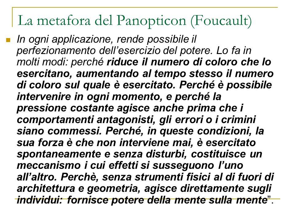 La metafora del Panopticon (Foucault) In ogni applicazione, rende possibile il perfezionamento dellesercizio del potere. Lo fa in molti modi: perché r