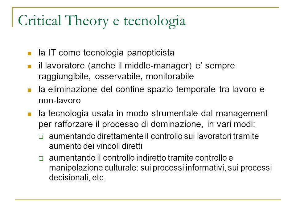 Critical Theory e tecnologia la IT come tecnologia panopticista il lavoratore (anche il middle-manager) e sempre raggiungibile, osservabile, monitorab