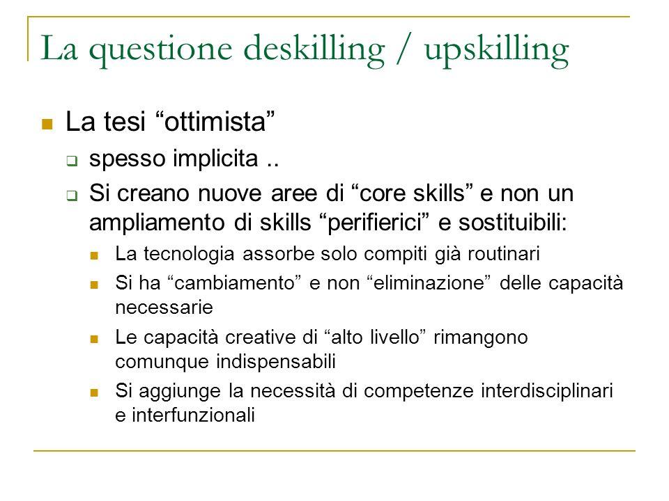 La questione deskilling / upskilling La tesi ottimista spesso implicita.. Si creano nuove aree di core skills e non un ampliamento di skills perifieri